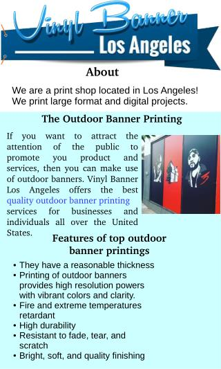 The Outdoor Banners & Affordable High Quality Banner Printing