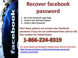 Facebook Support Service at 1-866-224-8319 Recover Facebook Password
