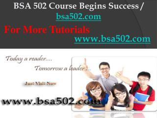 BSA 502 Course Begins Success / bsa502dotcom