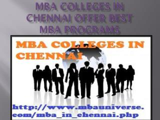 MBA Colleges in Chennai offer best MBA programs