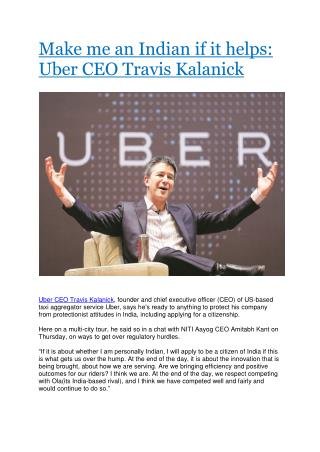 Make me an Indian if it helps: Uber CEO Travis Kalanick