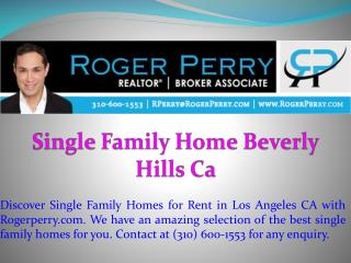 Single Family Home Beverly Hills Ca