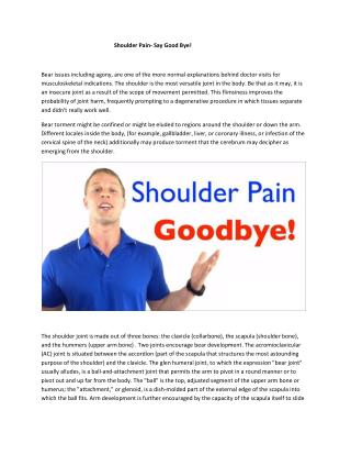 Shoulder Pain- Say Good Bye!