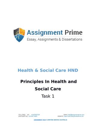 Assignment Prime - Sample Assignment on Health & Social Care (Task 1)