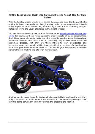 Gifting Inspirations: Electric Go-Karts And Electric Pocket Bike For Sale Online