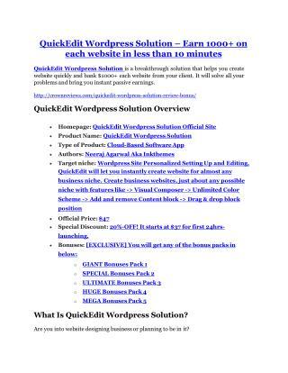 QuickEdit Wordpress Solution review and Exclusive $26,400 Bonus