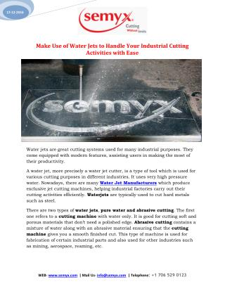 Water Jets to Handle Your Industrial Cutting Activities with Ease