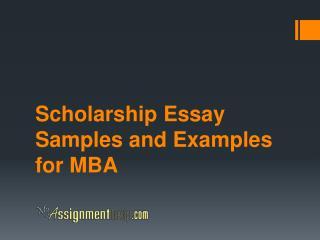 Scholarship Essay Samples for MBA