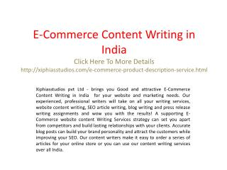 E-Commerce Content Writing in India