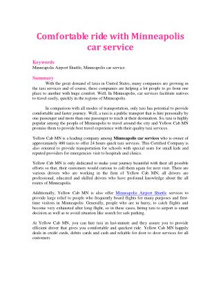 Comfortable ride with Minneapolis car service