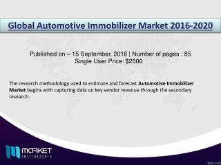 Automotive Immobilizer Market to Reach $** Billion in Revenues by 2020