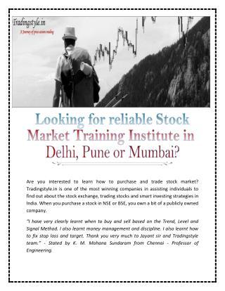 Stock Market Training Institute in Pune
