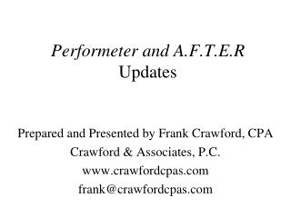 Performeter and A.F.T.E.R Updates