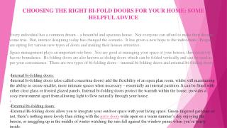 CHOOSING THE RIGHT BI-FOLD DOORS FOR YOUR HOME: SOME HELPFUL ADVICE