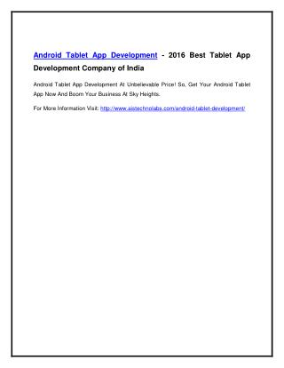 Android Tablet App Development - 2016 Best Tablet App Development Company of India