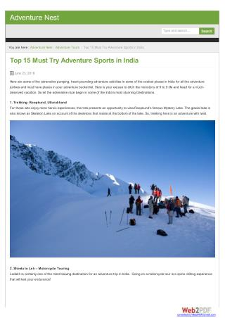 Most Adventure Sports in India