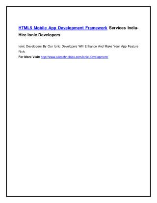 HTML5 Mobile App Development Framework Services India- Hire Ionic Developers
