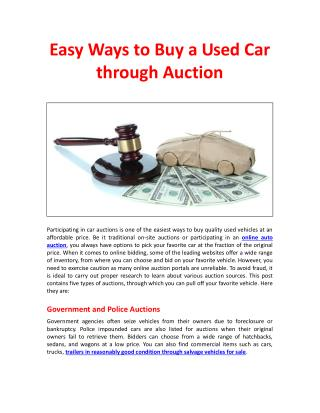 Easy Ways to Buy a Used Car through Auction