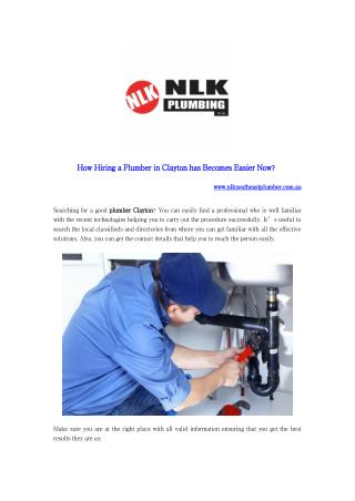 How Hiring a Plumber in Clayton has Becomes Easier Now?