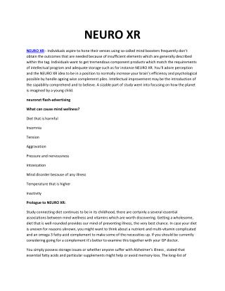 Neuro Xr - Better sense of productivity
