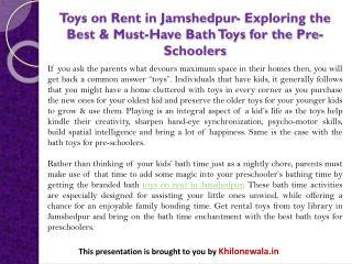 Toys on Rent in Jamshedpur- Exploring the Best & Must-Have Bath Toys for the Pre-Schoolers