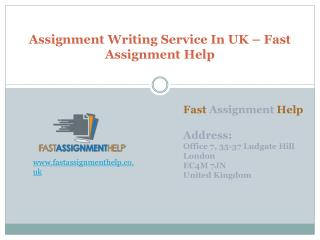 Assignment Writing Service In UK – Fast Assignment Help