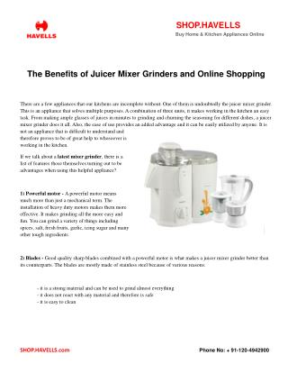 The Benefits of Juicer Mixer Grinders and Online Shopping