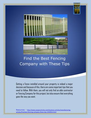 Find the Best Fencing Company with These Tips