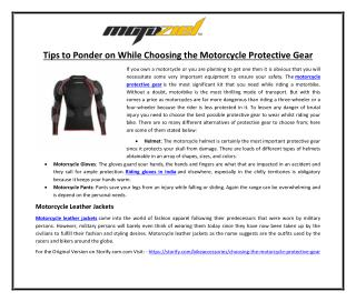 Tips to Ponder on While Choosing the Motorcycle Protective Gear