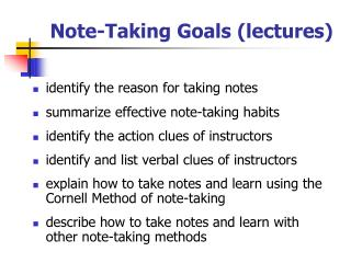 Note-Taking Goals lectures