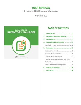 Inventory Manager Microsoft Dynamics CRM Plugin For Stock Control