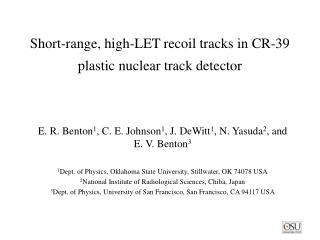 Short-range, high-LET recoil tracks in CR-39 plastic nuclear track detector