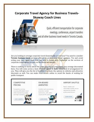Corporate Travel Agency for Business Travels-Skyway Coach Lines