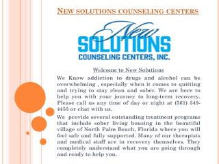 Alcohol and Drug Addiction Treatment Center | New Solutions Counseling Centers