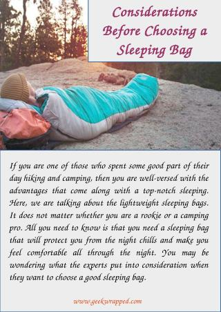 Considerations Before Choosing a Sleeping Bag