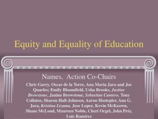 Equity and Equality of Education