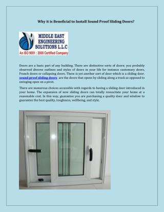 Beneficial to Install Sound Proof Sliding Doors