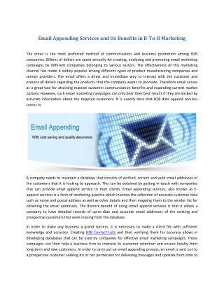 Email Appending Services and Its Benefits in B-To-B Marketing