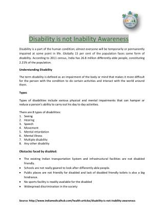 Disability is not Inability Awareness