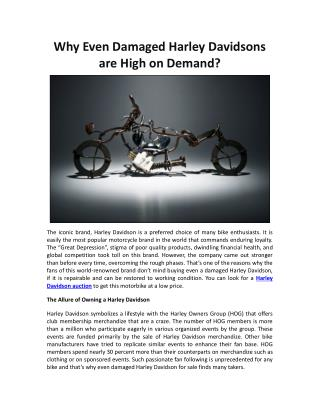 Why Even Damaged Harley Davidsons are High on Demand?