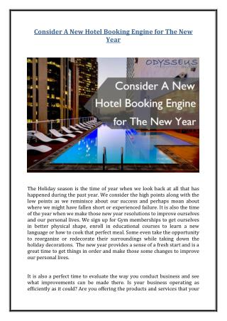 Consider A New Hotel Booking Engine for The New Year