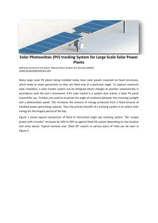 Solar Photovoltaic (PV) tracking System for Solar Power Plants