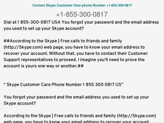 Skype helpline toll-free phone number 1 855 300 0817