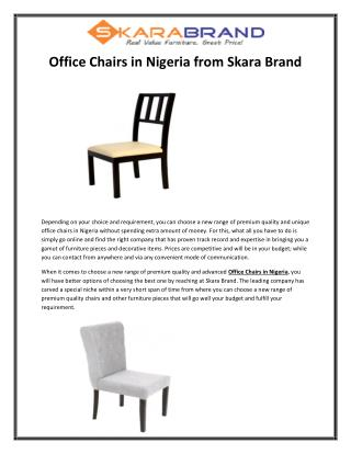 Office Chairs in Nigeria from Skara Brand