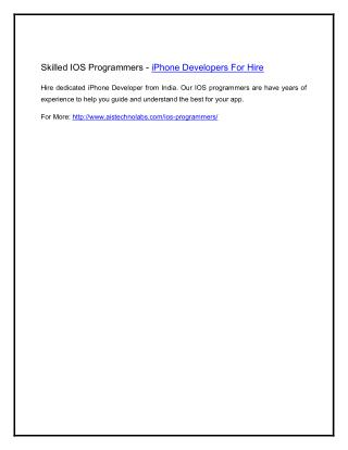 Skilled IOS Programmers - iPhone Developers For Hire