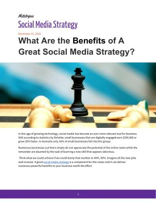What Are the Benefits of A Great Social Media Strategy?
