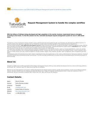 Request Management System to handle the complex workflow