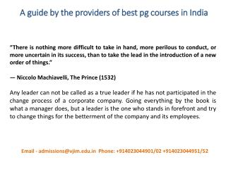 A guide by the providers of best pg courses in India