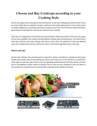 Choose and Buy Cooktops according to your Cooking Style