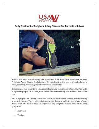 Peripheral Artery Disease Can Prevent Limb Loss - USA Vascular Centers
